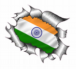 Ripped Torn Metal Design With India Indian Flag Motif External Vinyl Car Sticker 105x130mm